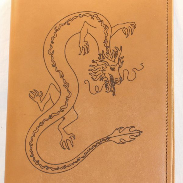 Chinese Dragon Refillable Leather Notebook Cover – Large (Golden Sand)