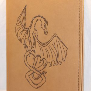 Dragon Refillable Leather Notebook Cover Golden Sand