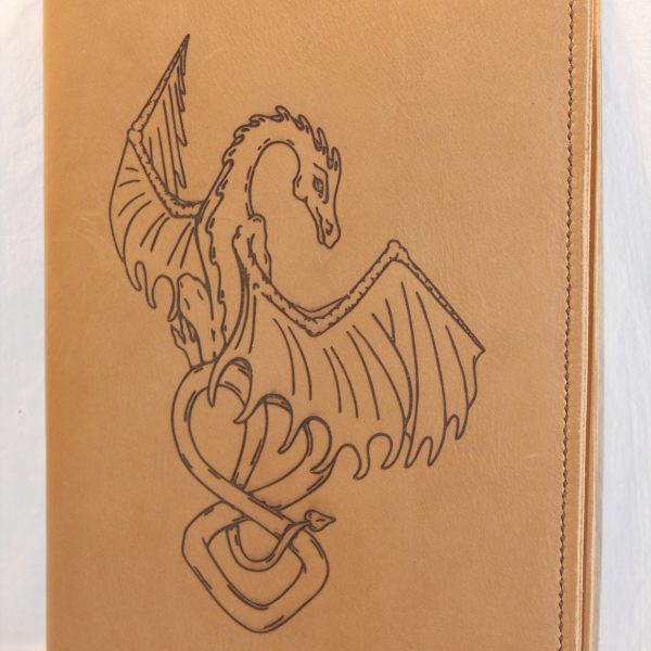 Dragon Refillable Leather Notebook Cover – Large (Golden Sand)
